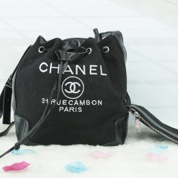 Chanel premium gift canvas ทรงขนมจีบเล็ก *ดำ