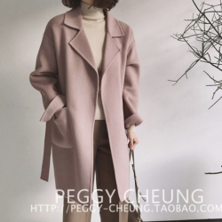 สีชมพู-OverCoat เสื้อโค้ทกันหนาว ทรงหลวม ผ้าเนื้อดี บุซับในกันลม