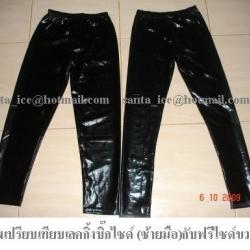 เลคกิ้งผ้ากึ่งหนังสีดำ บิ๊กไซด์ งานผ้านำเข้าฮ่องกง