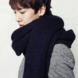 ผ้าพันคอไหมพรม เกาหลี สีดำ ใส่ได้ชาย และหญิง