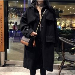 OverCoat เสื้อโค้ทกันหนาว ทรงใหญ่สไตล์เกาหลี แต่งดีเทลเก๋ สีดำ