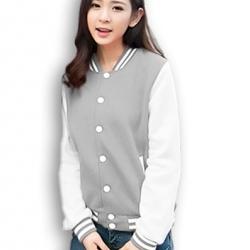 เสื้อคลุม แจ็คเก็ตแฟชั่น Classic style สไตล์เกาหลี-สีเทา