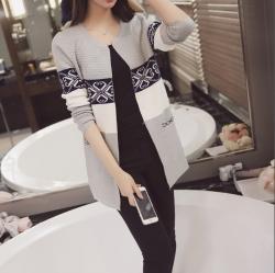 เสื้อคลุมแฟชั่นเกาหลี ผ้าหนานุ่ม กันหนาวได้ มีกระเป๋า สีเทา