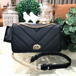 MARCS QUILTED SHOULDER BAG WITH CHAIN *ดำ
