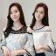 เสื้อแฟชั่นลูกไม้ แขนระบายโชว์ไหล่ สไตล์เกาหลี
