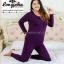ลองจอนหญิง บิ๊กไซด์ ลองจอนคนอ้วน บุเยื่อไผ่เอ็กซ์ตราพลัส สีม่วงเข้ม thumbnail 16