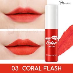 Oops My Color Lip Coat Velvet อุ๊บส์ มาย คัลเลอร์ ลิปโค้ท เวลเว็ท ขนาด 3 กรัม 03. Coral Flash