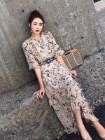 เดรสเกาหลี พร้อมส่ง ชุดเดรส งานสวย หวาน ลายผ้าสวย