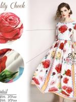 ชุดเดรสเกาหลี พร้อมส่ง ชุดเดรสยาว ลายดอกกุหลาบ