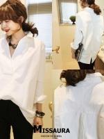 เสื้อเกาหลี พร้อมส่ง เสื้อเชิ๊ต งานกระดุมหลัง