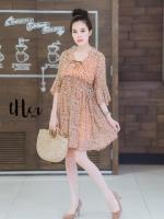 เดรสเกาหลี พร้อมส่ง Mini Dress เดรสสั้น คอวี