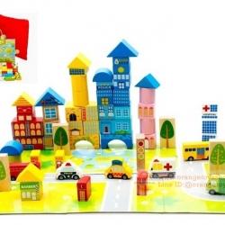 DIY BLOCK ของเล่นไม้ บล๊อกตัวต่อแบบไม้ บล็อคไม้รูปทรงต่าง บล๊อคไม้ สร้างเมือง 62 ชิ้น