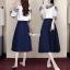 เสื้อผ้าเกาหลี พร้อมส่ง เสื้อแต่งลูกไม้เว้าไหล่เก๋ๆ+กระโปรง thumbnail 1