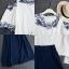 เสื้อผ้าเกาหลี พร้อมส่ง เสื้อแต่งลูกไม้เว้าไหล่เก๋ๆ+กระโปรง thumbnail 7