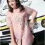 เดรสเกาหลี พร้อมส่ง ชุดเดรส ทรงกี่เพ้าผ้าชีฟองสีโอลโรส thumbnail 3