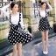 พร้อมส่ง เอี้ยม Mini Skirt ลายจุดโทนขาวดำ ประดับโบว์ใหญ่ thumbnail 3