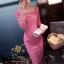พร้อมส่ง เดรสลูกไม้เนื้อดี สีชมพูเข้ม thumbnail 4