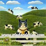 กระดาษสาพิมพ์ลาย สำหรับทำงาน เดคูพาจ Decoupage แนวภาพ แมวคาวบอย หนุ่มเลี้ยงวัวในฟาร์ม A5