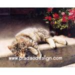 กระดาษสาพิมพ์ลาย สำหรับทำงาน เดคูพาจ Decoupage แนวภาพ แมวลายสวยนอนอาบแดด ตะแคงหน้ามอง A5