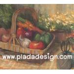 กระดาษสาพิมพ์ลาย สำหรับทำงาน เดคูพาจ Decoupage แนวภาำพ บ้านและสวน ตระกร้าใส่ผัก มะเขือเทศ แครอท พริกหวาน กระเทียม เป็นภาพวาด (ปลาดาวดีไซน์) A5