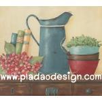 กระดาษสาพิมพ์ลาย สำหรับทำงาน เดคูพาจ Decoupage แนวภาำพ ภาพวาด ดอกไม้สีแดงดอกใหญ่วางอยู่ข้างเหยือกสังกะสีสีเขียว กับหนังสือบนตู้ (ปลาดาวดีไซน์) A5