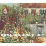 กระดาษสาพิมพ์ลาย สำหรับทำงาน เดคูพาจ Decoupage แนวภาำพ บ้านและสวน ลายพุ่มดอกไม้หลากสีสันหน้ารั้วไม้ของบ้านสวย เป็นภาพวาดสีฟุ้งๆ (ปลาดาวดีไซน์) A5