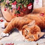 กระดาษสาพิมพ์ลาย สำหรับทำงาน เดคูพาจ Decoupage แนวภาำพ น้องแมวสีทอง นอนแหงะหน้ามามองกล้อง A5