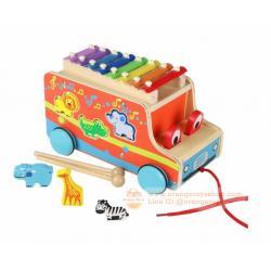 ของเล่นไม้ รถของเล่นล้อลากได้ พร้อมบล๊อกหยอด ระนาดแสนสนุก
