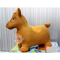 ตุ๊กตาเด้งดึ๋ง ม้า แบบผ้า (คละสี คละลาย) สีน้ำตาล