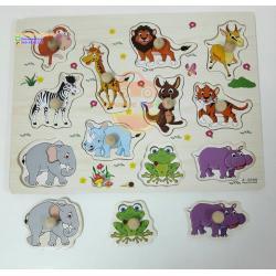 ชุดของเล่นไม้ แผ่นสอนเรียนรู้เรื่องสัตว์ป่า และไดโนเสาร์ (2 แผ่น)