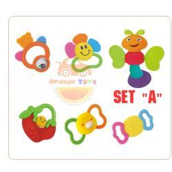 Huile Toys ของเล่นเด็กอ่อน เขย่ามือสำหรับเด็ก ชุดรวม ยางกัด HuilE SET A