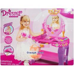 ( เสริมสวย โต๊ะเครื่องแป้ง ) ชุดเสริมสวยสีชมพูหวาน มีเสียงเพลง