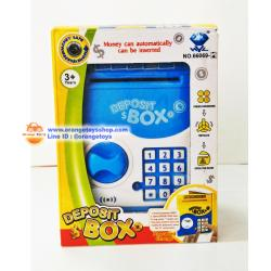 ตู้ ATM สำหรับเด็ก ตู้เซฟ ออมสิน ATM ตู้เซฟดูดแบงค์ กระปุกออมสิน มินิ เอทีเอ็ม (กระปุกออมสิน) Mini ATM สีฟ้า