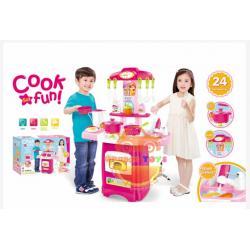 ชุดโต๊ะครัว มีเตาอบ มีไฟมีเสียง สีชมพู (889-53) พร้อมอุปกรณ์ทำครัว. 24. ชิ้น