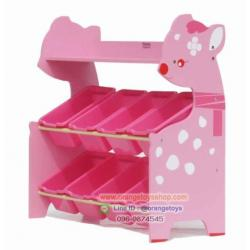 ชั้นวางของเล่นเด็ก ชั้นวางของอเนกประสงค์ ชั้นวางของกวางน้อย สีชมพู แบบ 8 กล่อง