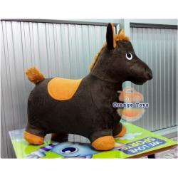 ตุ๊กตาเด้งดึ๋ง ม้า แบบผ้า (คละสี คละลาย) สีน้ำตาลเข้ม สีน้ำตาลดำ