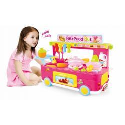 ชุดครัว Kitchen Toys Set รถเข็นอาหารจานด่วน สีชมพู