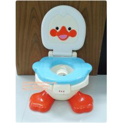 เก้าอี้กระโถน สำหรับเด็ก มีฝาปิด เป็ดน้อย (สีฟ้า สีส้ม)