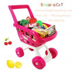 รถเข็น supermarket พร้อมผัก ผลไม้ ขนม 22 ชิ้น 668-07 สีชมพู