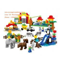 DIY BLOCK บล๊อก ชุดบล๊อกสวนสัตว์ กล่องใหญ่ Happy Zoo (146PCS)