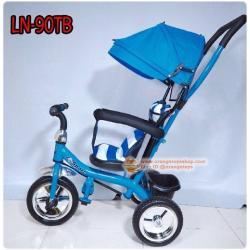 (สีฟ้า) รถจักรยาน สามล้อ สำหรับเด็ก แบบมีตะกร้าใส่ของ พร้อมร่ม เข็นบังคับได้