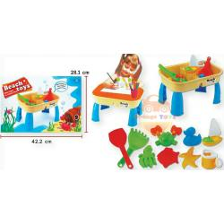 Sand and Water Table โต๊ะเล่นทรายเล็ก มีฝาปิด โต๊ะเล่นทรายพร้อมอุปกรณ์ 2in1 Beach toys