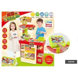 ชุดขายของ เค้าเตอร์คิดเงิน อาหารจานด่วน ของเล่นเด็ก พร้อมอุปกรณ์ 53 ชิ้น
