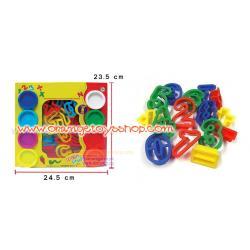 แป้งโดว์กระปุก 8 กระปุก คละสี พร้อมแม่พิมพ์ตัวเลข 0-9 และเครื่องหมาย ใน SET
