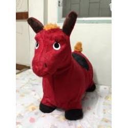 ตุ๊กตาเด้งดึ๋ง ม้า แบบผ้า (คละสี คละลาย) พร้อมส่งสีแดง