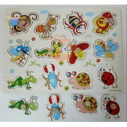 ชุดของเล่นไม้ แผ่นสอนเรียนรู้เรื่องแมลง และสัตว์เลี้ยง (2 แผ่น)
