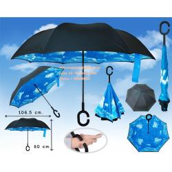 ร่มหุบกลับด้าน 2 ชั้น ร่มกลับด้าน ร่มหน้าฝน invert umbrella สามารถใช้ได้ทุกฤดูกาล ขาด 24 นิ้ว -(สีฟ้า ลายท้องฟ้า/ดำ)