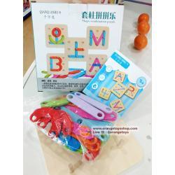 ของเล่นไม้ กระดานไม้หมุดปัก ABC และ ตัวเลข