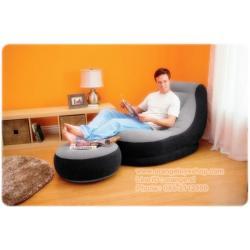 Intex เก้าอี้ โซฟาเป่าลม และ เบาะวางขาแยกชิ้น - สีเทา/ดำ (แถมฟรี Intex เครื่องเป่าลม แบบธรรมดา ) 68564