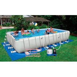 ( ขนาด 24 ฟุต ) Intex Ultra frame Pool 24 ฟุต เครื่องกรองระบบทราย (7.32 x 3.66 x 1.32 ม.)